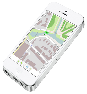 Tracking device location shown on a smartphone