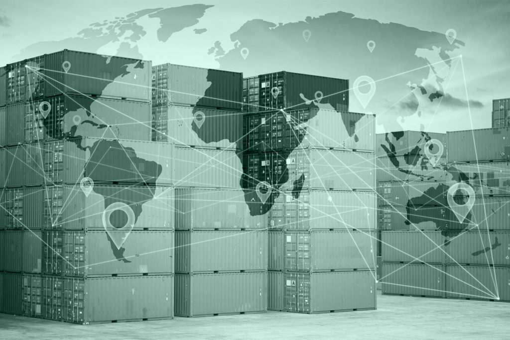 shipping containers and global map