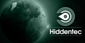 Image of planet Earth and the new Hiddentec logo