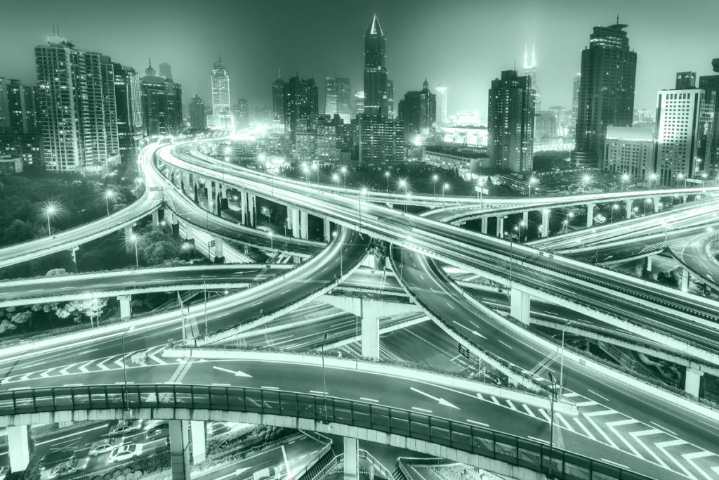 Traffic on famous highway interchange in Shanghai, China at night